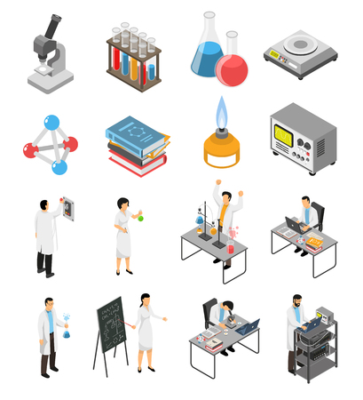 Isometric scientific laboratory set with isolated images of research equipment and human characters of scientists in uniform vector illustration Archivio Fotografico - 95633813