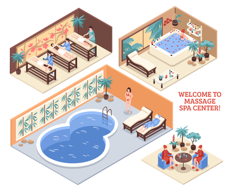 Set of isometric interiors of massage spa center with pool bathroom and massage beds isolated vector illustration