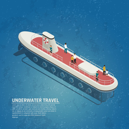 Modern submarine for underwater travel isometric composition with vessel on surface with people on board vector illustration