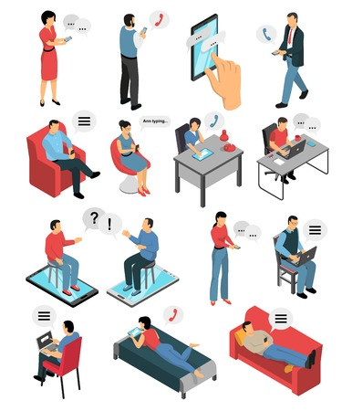Isometric icons set with people during chatting by phone, in messengers and social networks isolated vector illustration Vectores