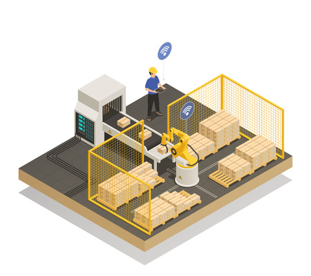 Smart industry intelligent manufacturing isometric composition vector illustration 矢量图像
