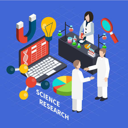 Science isometric concept with research symbols on blue background vector illustration