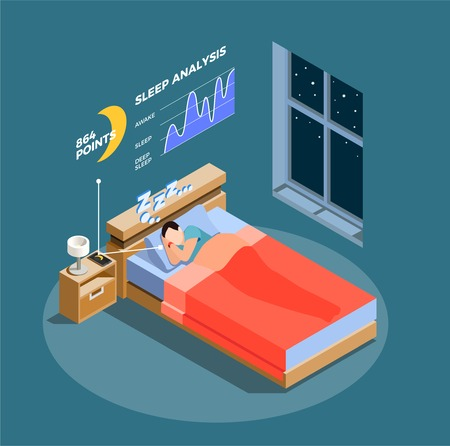 Sleep analysis isometric composition on blue grey background with chart, man during night dream vector illustration