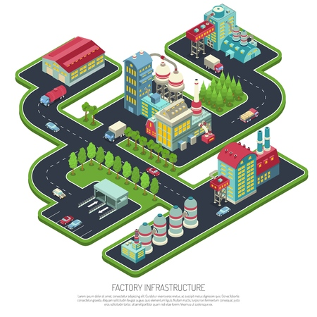 Factory infrastructure isometric composition vector illustration Vettoriali