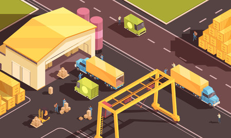 Isometric logistic composition with images of warehouse figures of people with cardboard boxes cargo trucks and cars vector illustration Illustration
