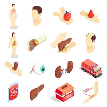 Icônes décoratives de transplantation définies avec un étui de voiture d'urgence d'organes humains pour le transport d'organes donneurs illustration vectorielle isométrique