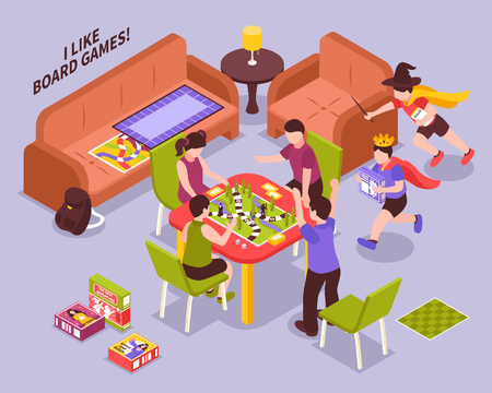 Kids playing board games, boys running in costumes scene on lilac background isometric vector illustration Illustration