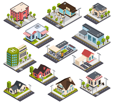 Isometric city buildings with road elements, set with residential houses, hospital, bank, school, police isolated vector illustration