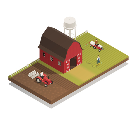 Gardening agricultural machinery isometric composition  with fertilizer and disc harrow tractor cultivator plowing on farmland vector illustration