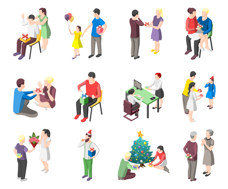 Set of isometric icons people with gifts during romantic meeting, christmas celebration, birthday isolated vector illustration