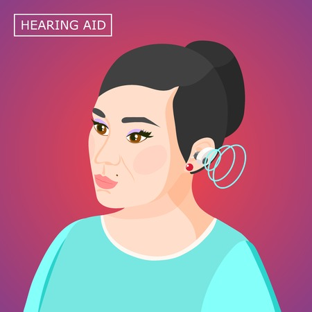 Concentrating woman with hearing aid inside ear with sound waves isometric composition on purple background vector illustration Vectores