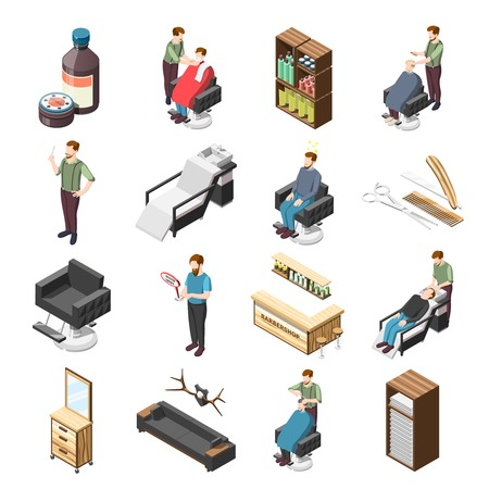 Barbershop isometric icons with hairdresser and customers, cosmetic accessories, professional tools, interior elements isolated vector illustration