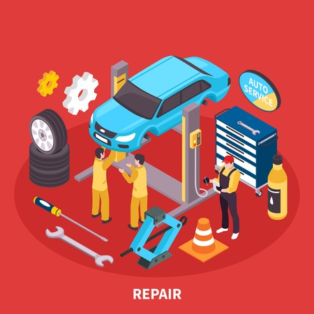 Auto service isometric concept with repair works symbols vector illustration