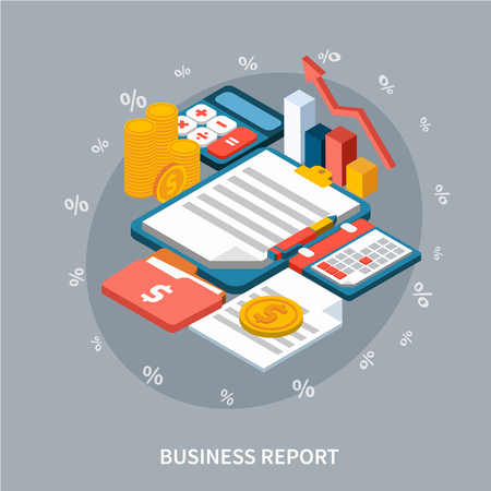 Accounting isometric background composition of money notepad folders and calculator images. Archivio Fotografico - 95563214