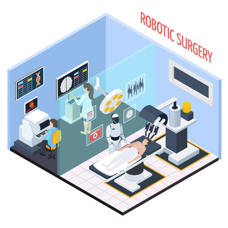 Robotic surgery composition with technology and people isometric vector illustration