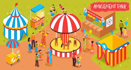 Isometric view of entertainment park with attraction booths and people vector illustration