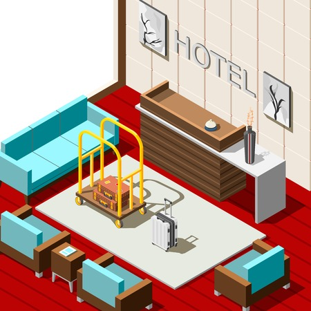 Hotel reception isometric background with registration desk