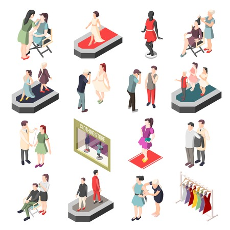 Fashion industry set of isometric icons with models, photographer, stylist and visagiste isolated vector illustration