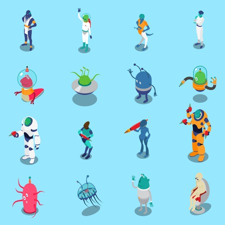 Funny colorful aliens isometric icons set isolated on blue background 3d vector illustration