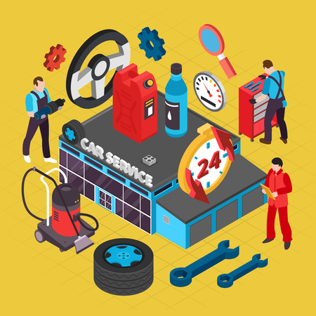 Car service isometric concept with spare parts symbols vector illustration  Illustration