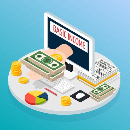 Social security and unemployment composition with unconditional income isometric vector illustration 写真素材 - 95823798