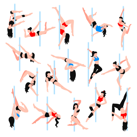 Pole dance isometric icons set with women in various positions in bikini and sportswear isolated vector illustration   Illustration