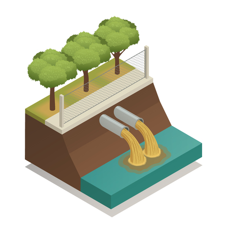 Waste water sewage treatment before it dumped to river vector illustration Çizim