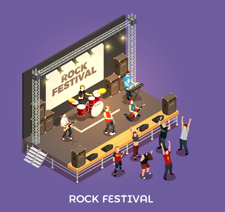 Rock festival isometric composition on purple background with musicians on stage, concert equipment, admirers vector illustration