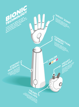 Bionics technology isometric composition vector illustration Vettoriali