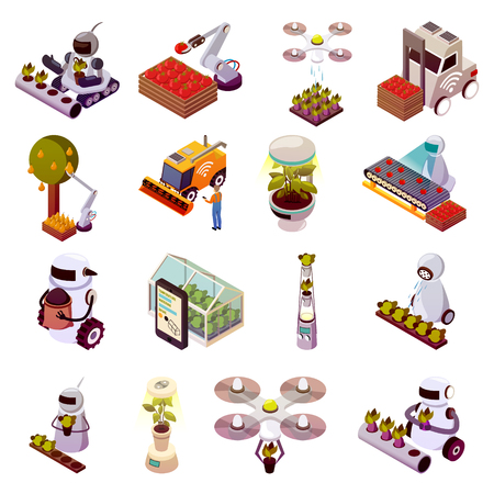 Agricultural robots isometric icons set vector illustration 일러스트