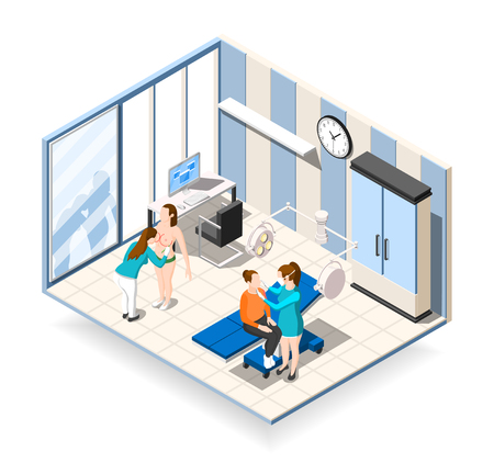 Plastic surgery isometric composition with female patients receiving consultation in clinic of aesthetic medicine vector illustration Illustration