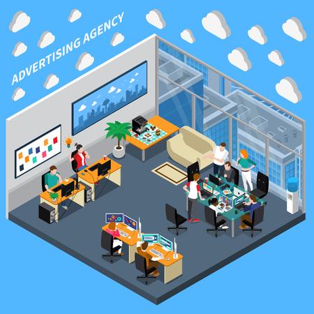 Isometrische Zusammensetzung der Werbeagentur auf blauem Hintergrund mit kreativem Team, Designer an der Bürovektorillustration