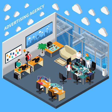 Izometryczny skład agencji reklamowej na niebieskim tle z zespołem kreatywnym, projektanci w biurze ilustracji wektorowych