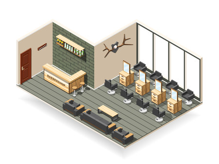 Barbershop interior including workplaces with mirrors, waiting area, cosmetic products on shelf isometric composition vector illustration
