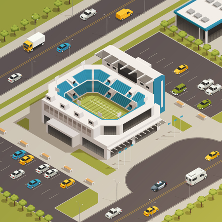 American national league football sport stadium with adjacent parking lots and busy streets isometric composition vector illustration