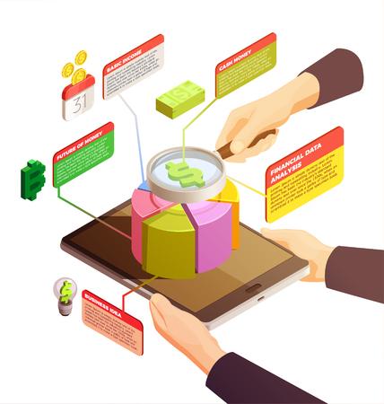 ビジネスアイデア、データ分析、ベーシックインカム、マネー要素ベクトル図の未来を持つ金融技術アイソメトリック概念