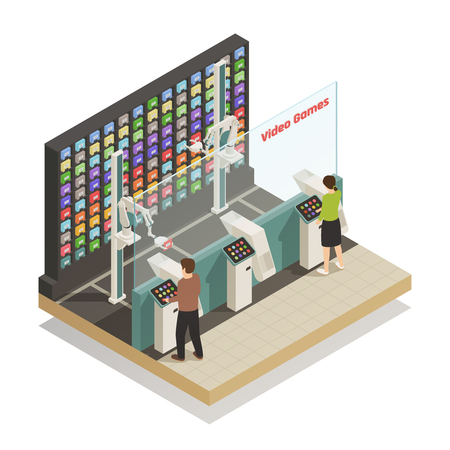 Automated self-service technologies in video games shop isometric composition with robotic helper assisting customers vector illustration  Vectores