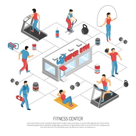 Fitness gym center isometric flowchart poster with exercising people strength crunch workout equipment and supplements vector illustration