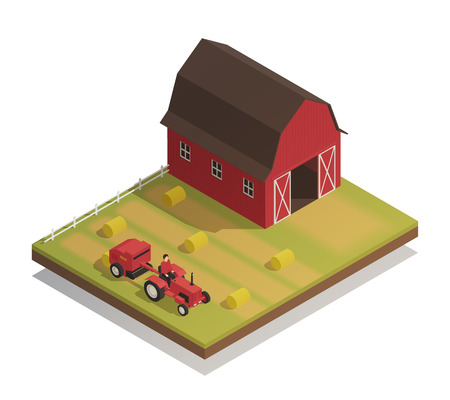 Agricultural farm harvesting machinery with hay making equipment. Compact tractor and large barn isometric composition. Vector illustration.