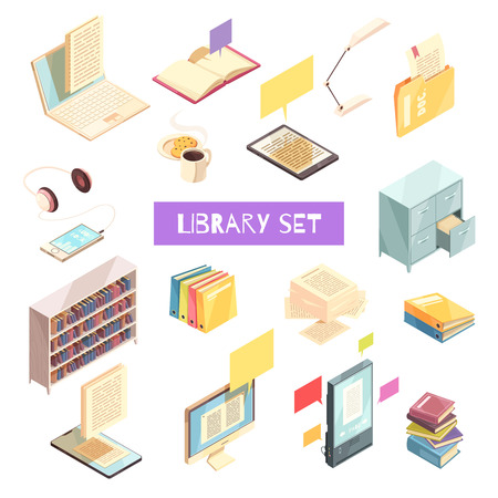 Library isometric set with book shelves locker for gadgets, headphones and reading lamp vector illustration Illustration