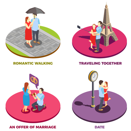 Romantic 2x2 design concept with traveling together, offer of marriage, date and romantic walking isometric compositions vector illustration