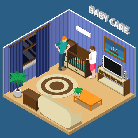 Baby care isometric composition on blue background with parents near infant on cot, interior elements vector illustration