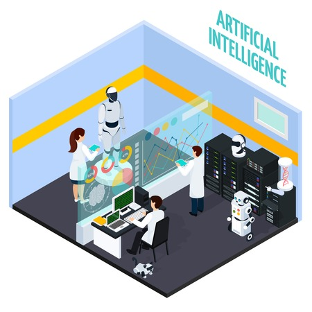 Artificial intelligence concept with repair and technology symbols isometric vector illustration  Ilustrace