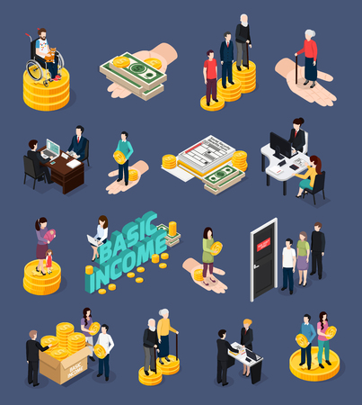 Social security icons set with unemployment benefits symbols isometric vector illustration Illustration