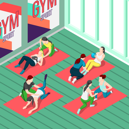Fitness isometric background with people training in gym with personal sport  instructors vector illustration