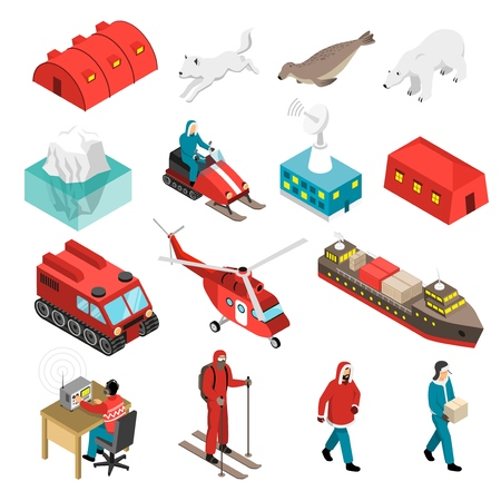Arctic polar station isometric set with scientists, animals, base and transportation, satellite antenna, iceberg isolated vector illustration