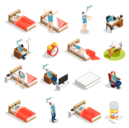Healthy sleep and disorders isometric icons set with insomnia, dream during trip, counting sheep isolated vector illustration