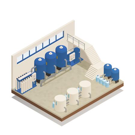 Ilustración de vector de composición isométrica de depuración de aguas residuales y depuración de aguas planta de tratamiento de limpieza instalación de bombeo y filtración