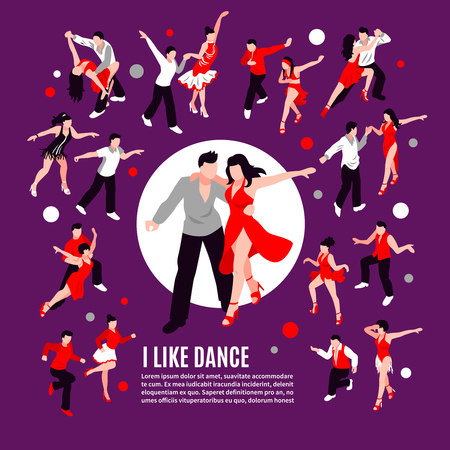 People during dance with partner salsa, rumba, samba, composition on purple background isometric vector illustration   イラスト・ベクター素材