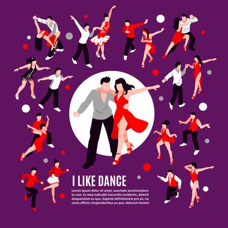 パートナーサルサ、ルンバ、サンバ、紫色の背景アイソメトリベクトルイラストの組成とダンス中の人々